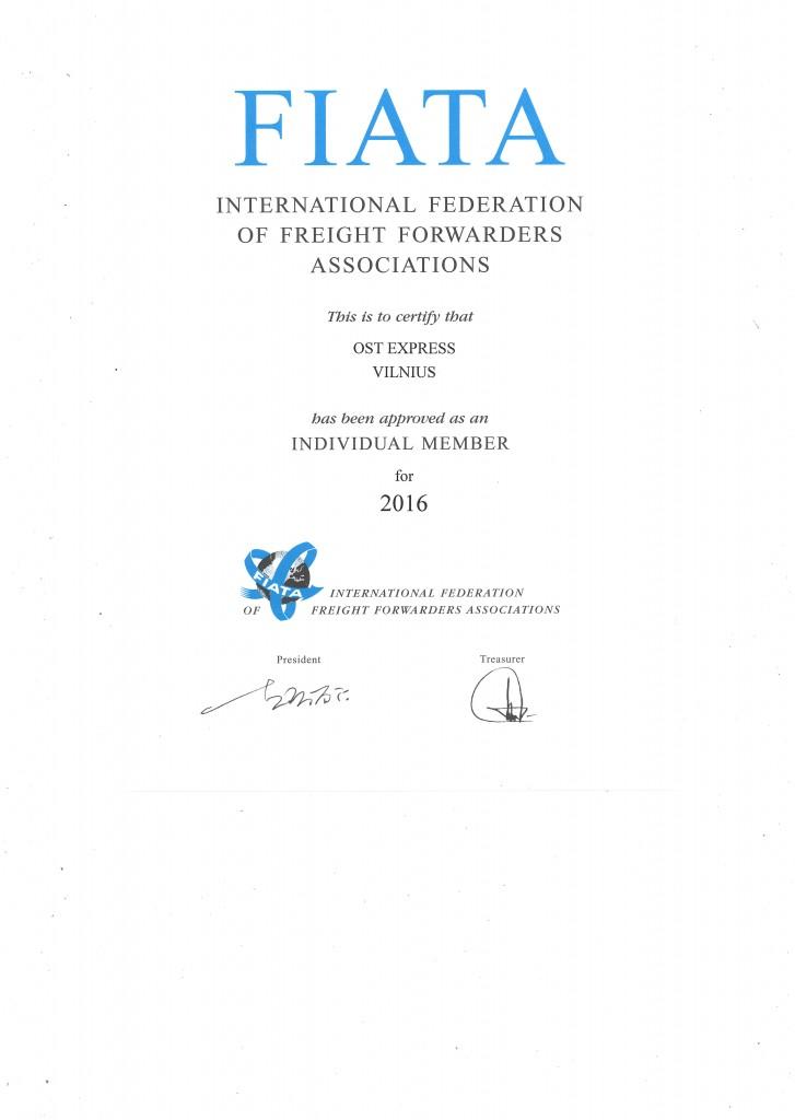 FIATA sertifikatas OST express