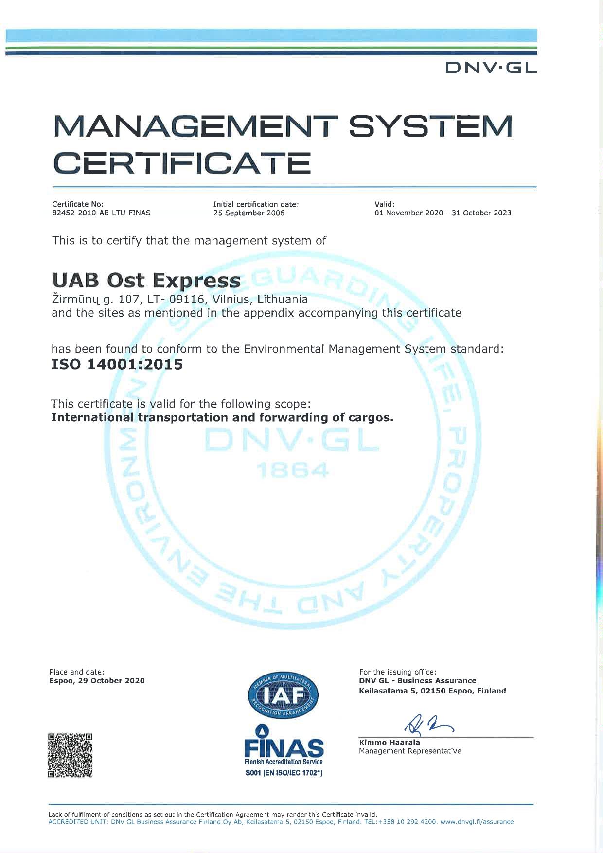 ISO 14001:2004 SERTIFIKATAS OST EXPRESS