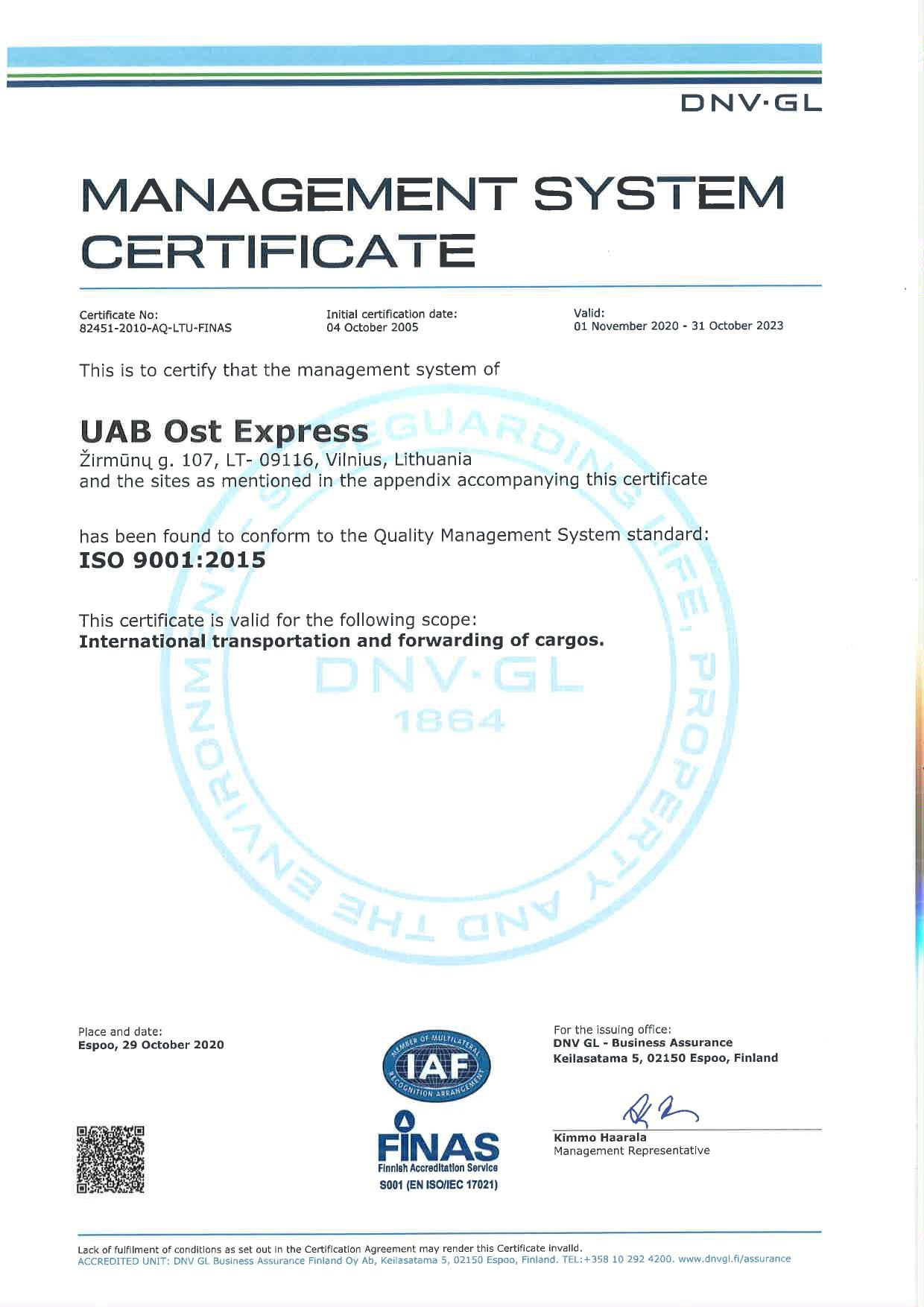 ISO 9001:2008 SERTIFIKATAS OST EXPRESS